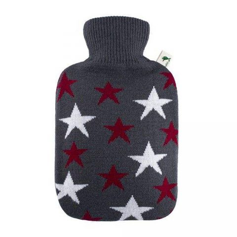 Eco Hot Water Bottle With White & Red Star Cover-Hugo Forsch