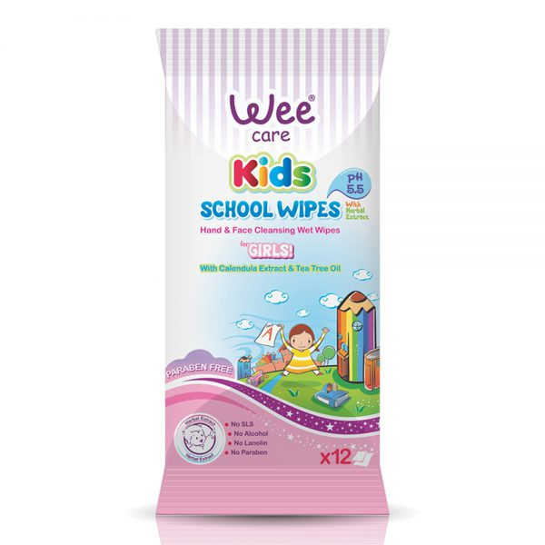 School Wipes Hands And Face Cleansing Wet Wipes For Girls-Wee Care