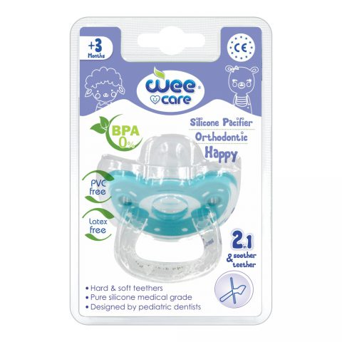 Silicon Pacifier Orthodontic Happy 2in1 For +3 Months-Wee Care