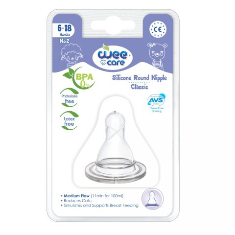 Silicon Round Nipple Classic For 6-18 Months-Wee Care